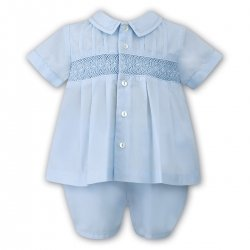 Sarah Louise Baby Boys Smocked Embroidered Blue Top And Shorts Set