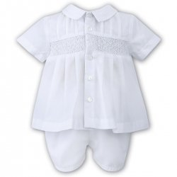 Sarah Louise Baby Boys White Smocked Embroidered Top And Shorts Set