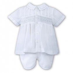 Sarah Louise Baby Boys White Blue Smocked Top And Shorts Set