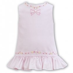 Sarah Louise Baby Girls Pink Embroidered Summer Dress