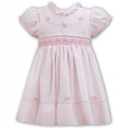 Sarah Louise Frilly Collar And Sleeves Pink Smocked Dress