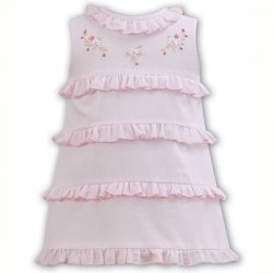 Sarah Louise Baby Girls Pink Ruffle Summer Dress