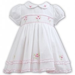 Sarah Louise Girls Ivory Smocked Dress Pink Embroideries Pink Frills