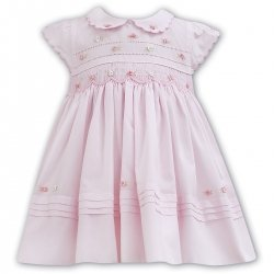 Sarah Louise Spring Summer Smocked Pink Embroidered Dress Frilly Collar Sleeves