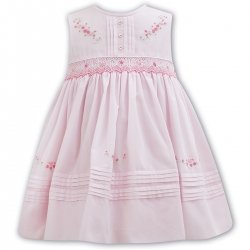 Sarah Louise Baby Girls Sleeveless Pink Smocked Summer Dress