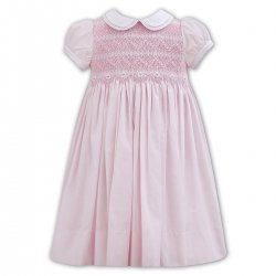 Sarah Louise Spring Summer Smocked Pink Dress Embroidered Daisy