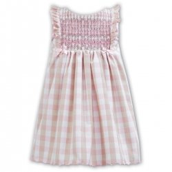 Sale Sarah Louise Pink White Gingham Smocked Sleeveless Summer Dress
