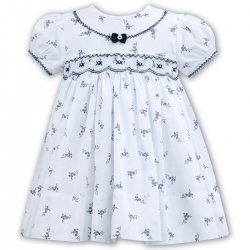 Sarah Louise Baby Girls White Navy Floral Smocked Dress