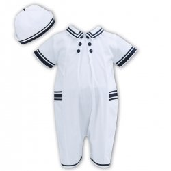 Sarah Louise Baby Boys White Navy Sailor Styled Romper With Hat