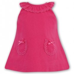 Sarah Louise Baby Girls Summer Cerise Linen Dress