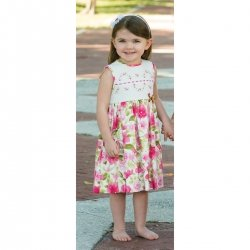 Sarah Louise White Fuchsia Tulip Rose Dress