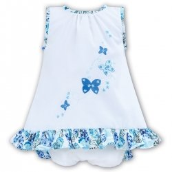 Sarah Louise Baby Girls White Blue Butterfly Panty Dress