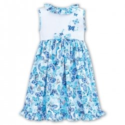 Sarah Louise White Blue Butterfly Floral Dress