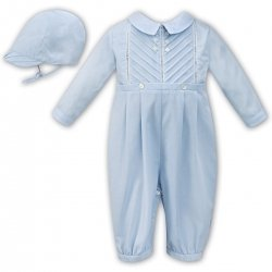 Sarah Louise Baby Boys Side Pleated Blue Romper With Hat