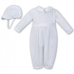 Sarah Louise Baby Boys Side Pleated White Romper With Hat