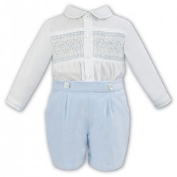 Sarah Louise Baby Boys Ivory Smocked Shirt Smocked Shirt Blue Velour Shorts Set
