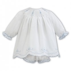 Sarah Louise Ivory Blue Smocked Dress Panty Set