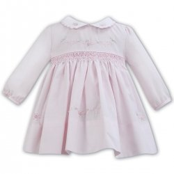 Sarah Louise Baby Girls Smocked Pink Dress White Collar