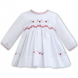 Distinctive Sarah Louise Long Sleeve WhiteRedk Smocked Dress Red Embroideries