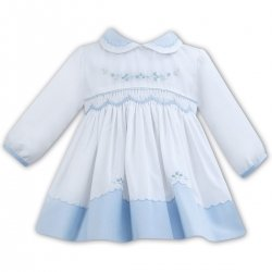 Sarah Louise Blue Collar Blue Trim Smocked White Dress Blue Embroideries