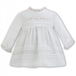 Sarah Louise Long Sleeve Ivory Pleated Dress Peach Embroideries