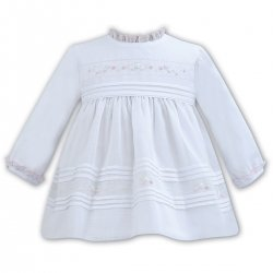 Sarah Louise Long Sleeve White Pleated Dress Pink Embroideries
