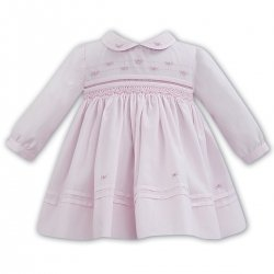 Sarah Louise Long Sleeve Rose Embroidered Collar Pink Smocked Dress