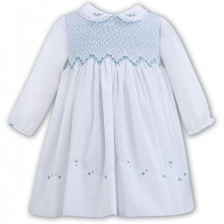 Sarah Louise Long Sleeve White Blue Smocked Dress Blue Embroideries