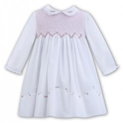 Sarah Louise Long Sleeve White Pink Smocked Dress Pink Embroideries