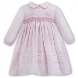 Sarah Louise Long Sleeve Smocked Embroidered Pink Dress
