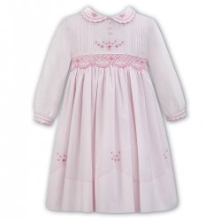 Sarah Louise Pink Embroidered Smocked Pleated Dress Scallop Collar