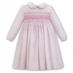 Sarah Louise Pink Smocked Dress Frilly Collar Diamond Shape Embroideries