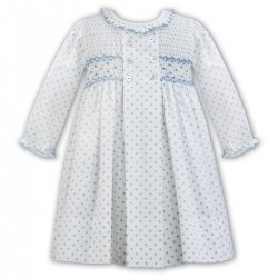 Sarah Louise Long Sleeve Ivory Blue Smocked Dress Blue Embroideries