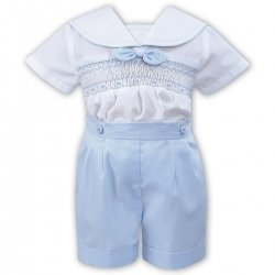 Sarah Louise Baby Boys 2 Piece Smocked Blue White Outfit