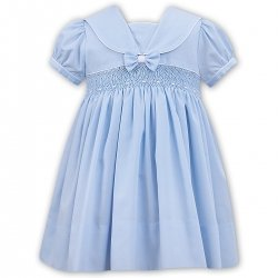 Sarah Louise Baby Girls Smocked Blue Dress With Bow