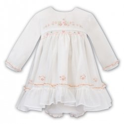 Sarah Louise Ivory Smocked Voile Dress Panty Set Peach Pink Embroideries