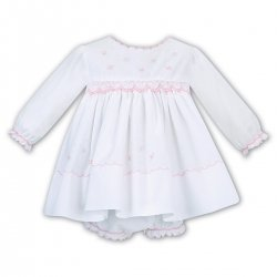 Sarah Louise White Smocked Dress With Panty Set Pink Embroideries For Newborn