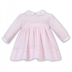 Sarah Louise Girls Pink White Pleated Embroidered Dress