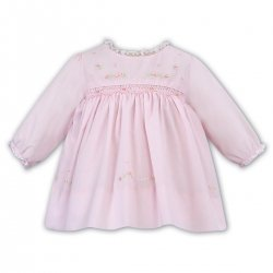 Sarah Louise Pink Smocked Dress White Frilly Lace Collar Cuffs
