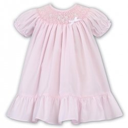Sarah Louise Pink Smocked A Line Dress White Frilly Lace