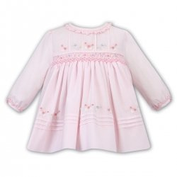 Sarah Louise Pink Pleated Embroidered And Smocked Dress