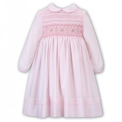 Sarah Louise Pink Smocked Dress Pink White Embroideries