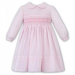 Sarah Louise Pink White Distinctive Smocked Embroidered Dress