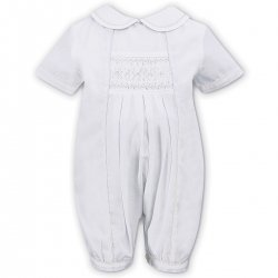 Sarah Louise Baby Boys White Smocked White Embroidered Romper