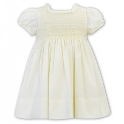 Sarah Louise Lemon Yellow Smocked Dress Frilly Collar Sleeves