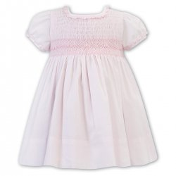 Sarah Louise Pink Smocked Dress Frilly Collar Sleeves