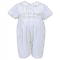 Sarah Louise Baby Boys White  Pleated Smocked Romper