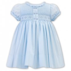 Sarah Louise Pale Blue Smocked Dress Frilly Collar And Sleeves