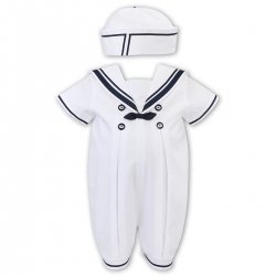 Sarah Louise Baby Boys White Navy Sailor Romper With Hat