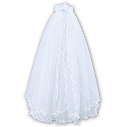 Frilly Tulle First Holy Communion Veil With Bow And Flower